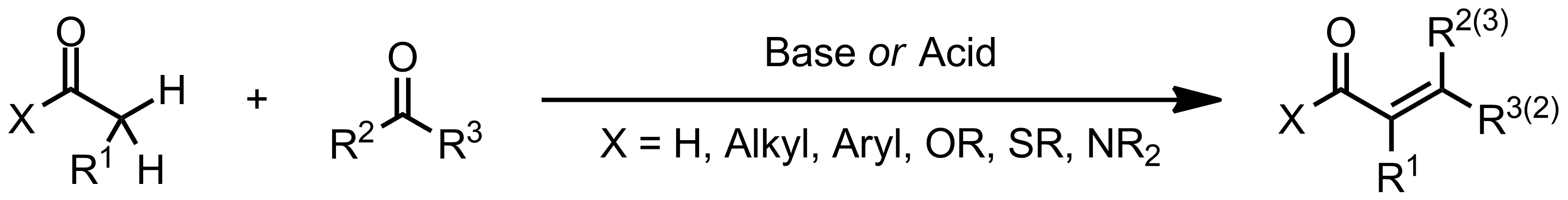 Schematic representation of the Aldol Condensation.