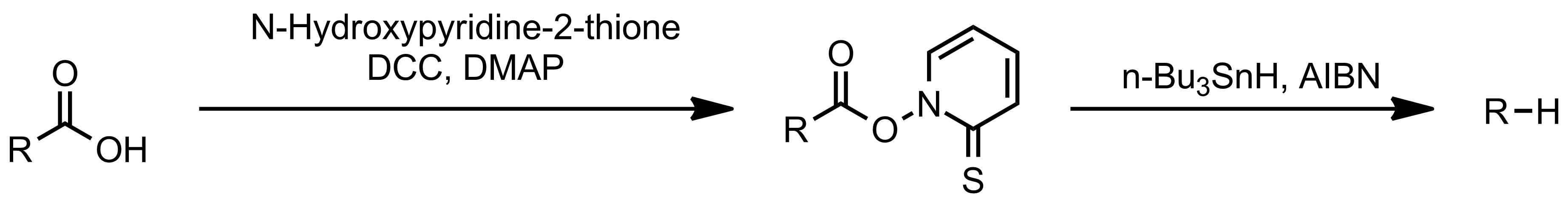 Schematic representation of the Barton Decarboxylation.