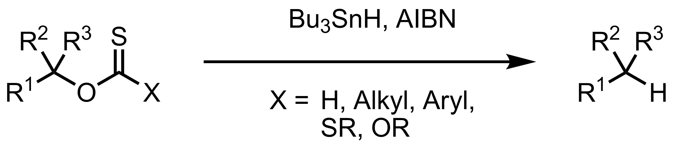 Schematic representation of the Barton-McCombie Reaction.