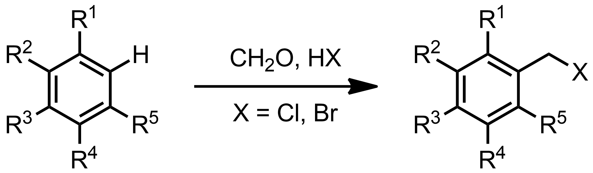 Schematic representation of the Blanc Halomethylation.