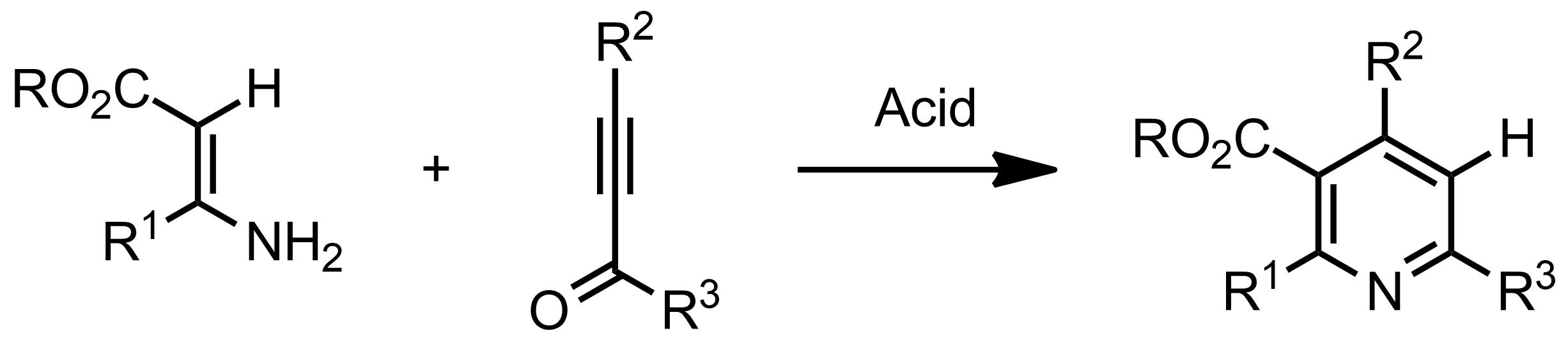 Schematic representation of the Bohlmann-Rahtz Pyridine Synthesis.