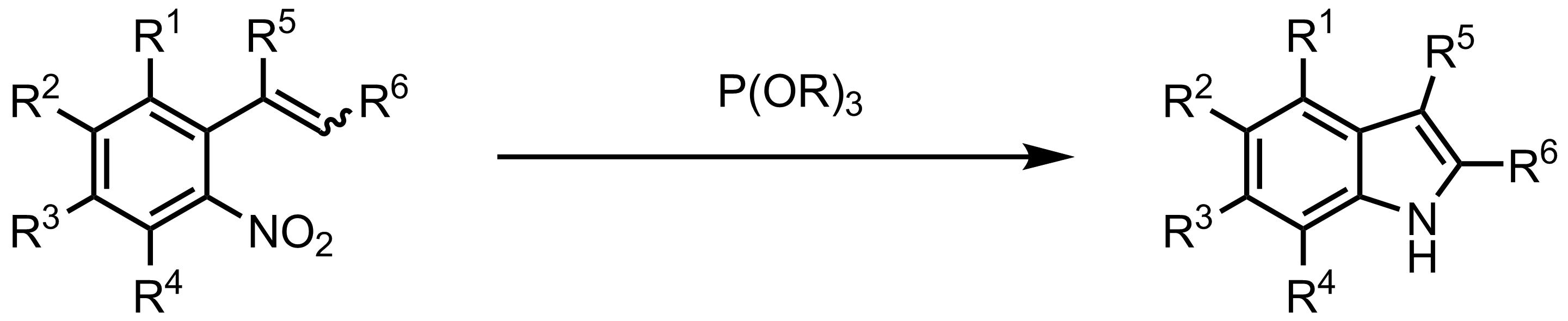 Schematic representation of the Cadogan-Sundberg Indole Synthesis.