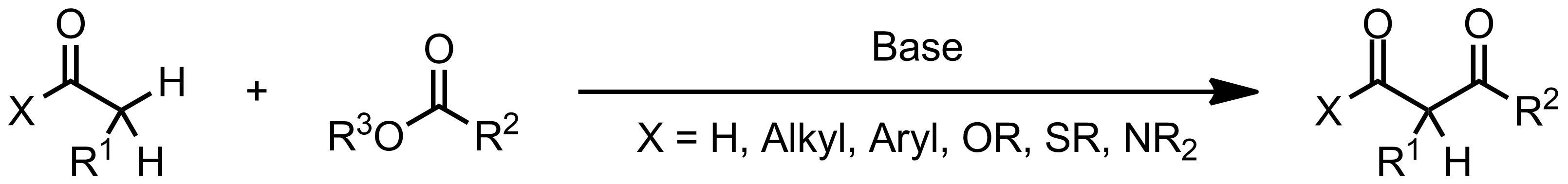 Schematic representation of the Claisen Condensation.