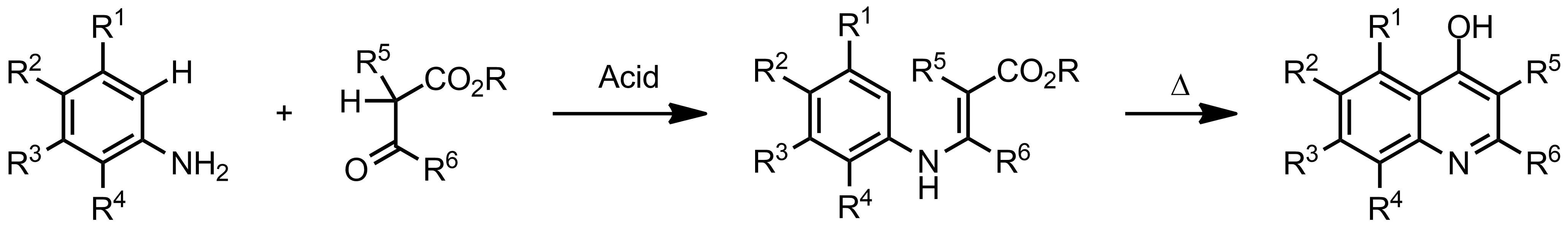 Schematic representation of the Conrad-Limpach Synthesis.