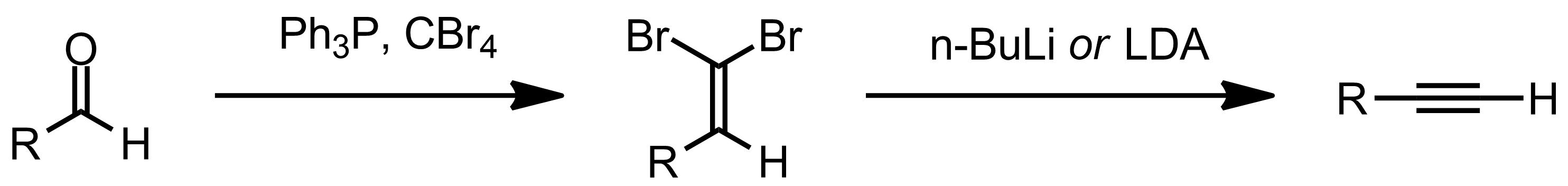 Schematic representation of the Corey-Fuchs Reaction.