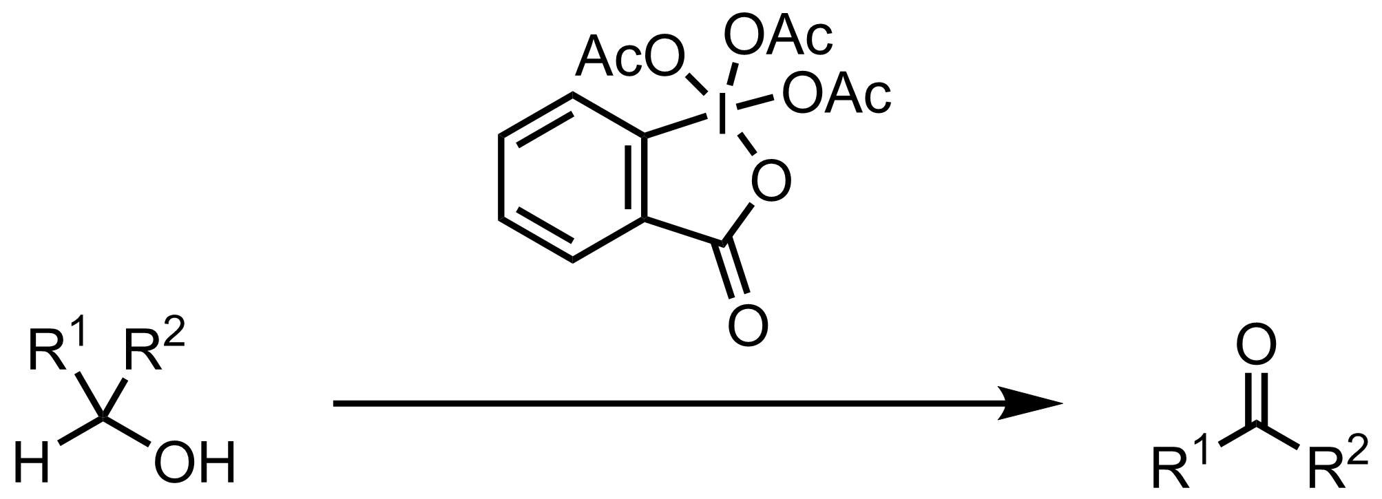 Schematic representation of the Dess-Martin Oxidation.