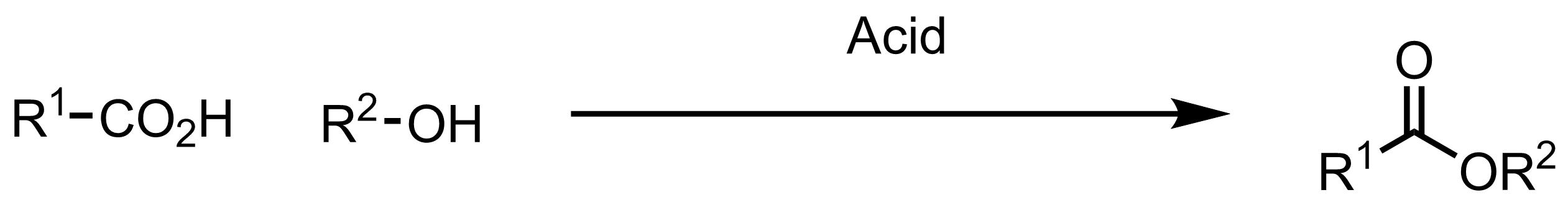 Schematic representation of the Fischer Esterification.