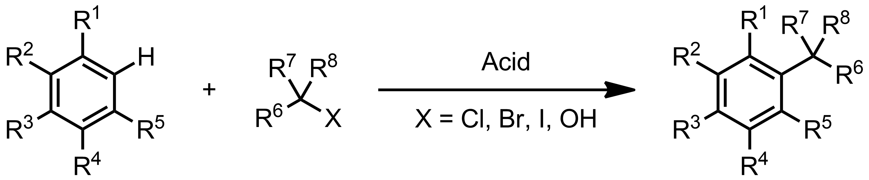 Schematic representation of the Friedel-Crafts Alkylation.