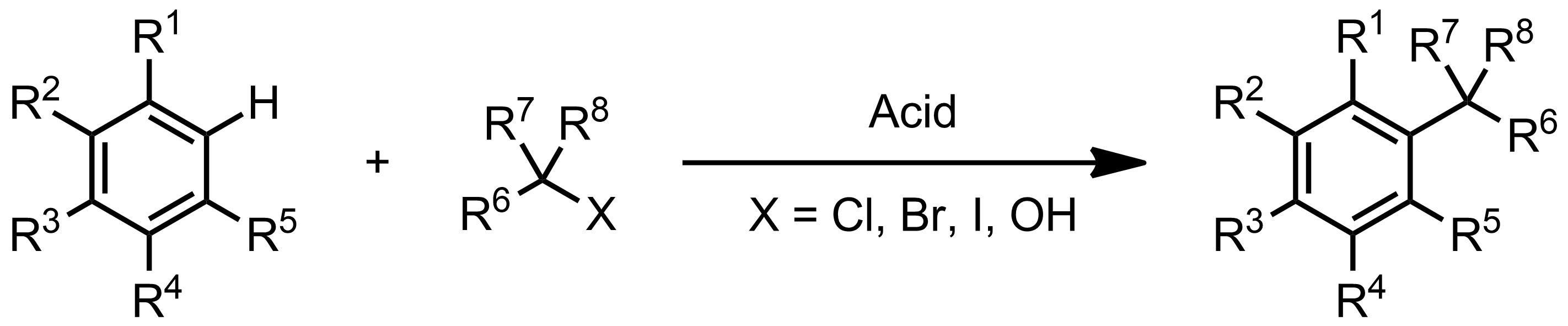 Schematic representation of the Friedel-Crafts Alkylation.