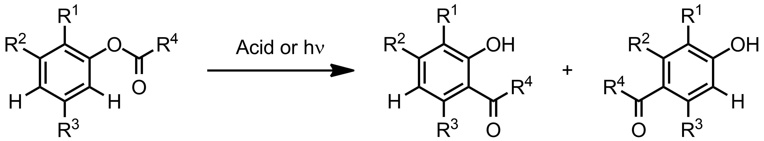 Schematic representation of the Fries Rearrangement.