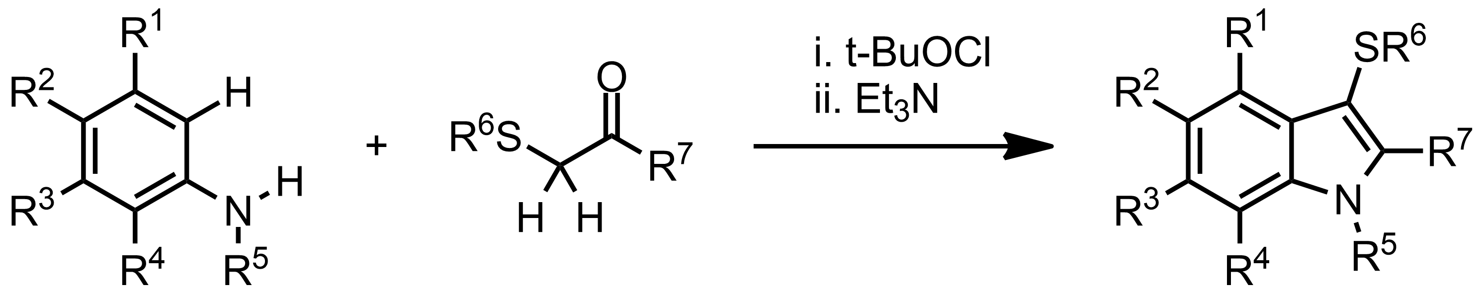 Schematic representation of the Gassman indole synthesis.