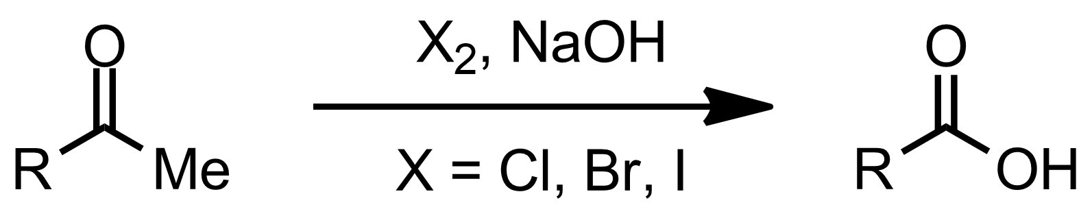 Schematic representation of the Haloform Reaction.