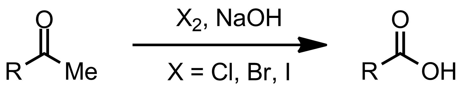 Schematic representation of the Haloform Reaction.