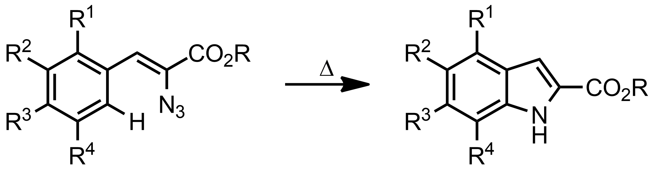 Schematic representation of the Hemetsberger-Knittel Indole Synthesis.