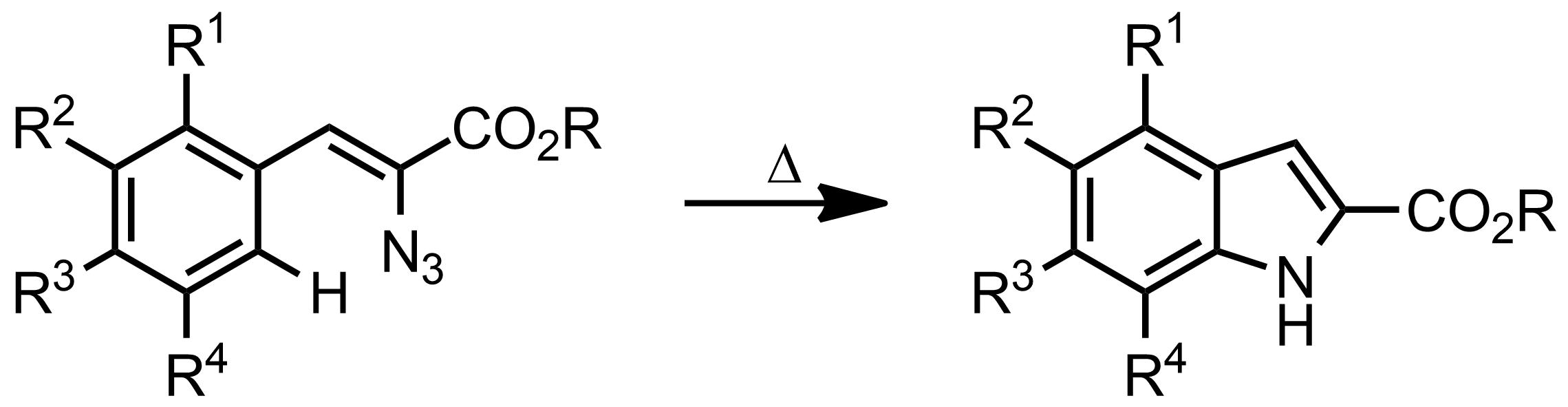 Schematic representation of the Hemetsberger-Knittel Indole Synthesis.