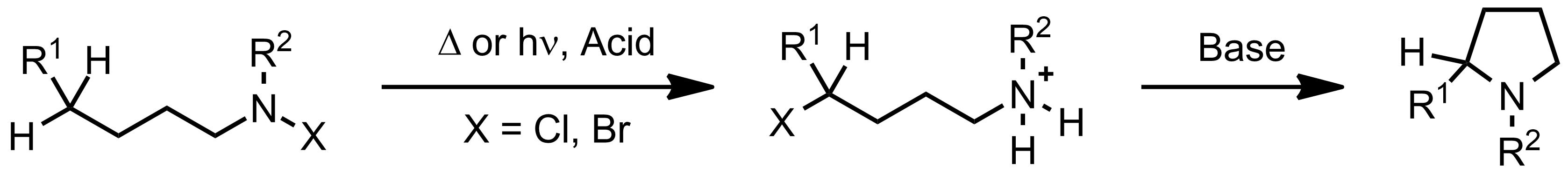 Schematic representation of the Hofmann-Löffler-Freytag Reaction.