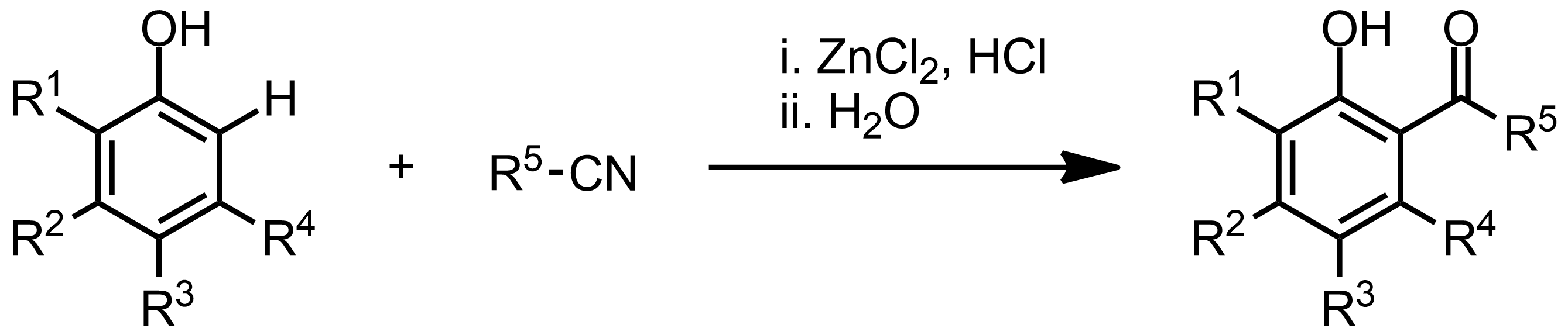 Schematic representation of the Houben-Hoesch Reaction.
