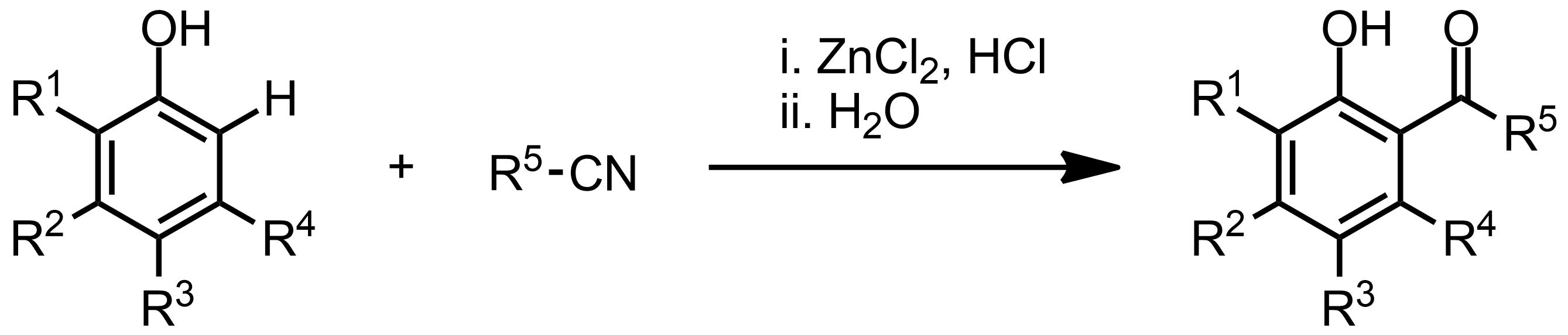 Schematic representation of the Houben-Hoesch Reaction.