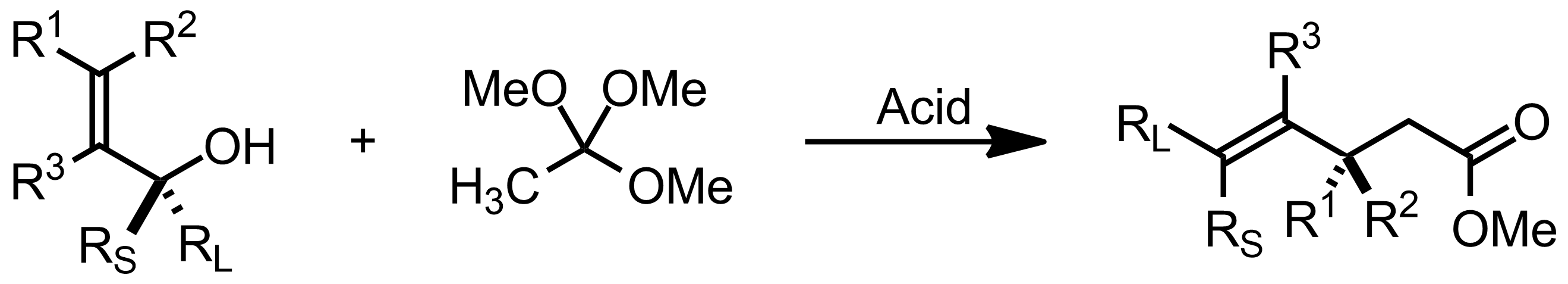 Schematic representation of the Johnson-Claisen Rearrangement.