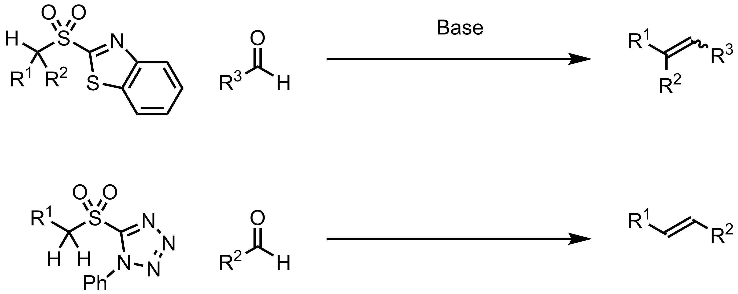 Schematic representation of the Julia-Kociensky Olefination.