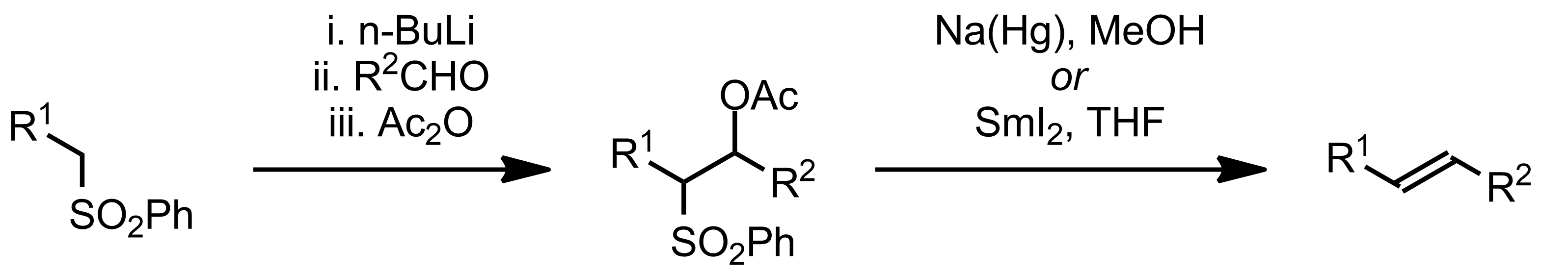 Schematic representation of the Julia Olefination.