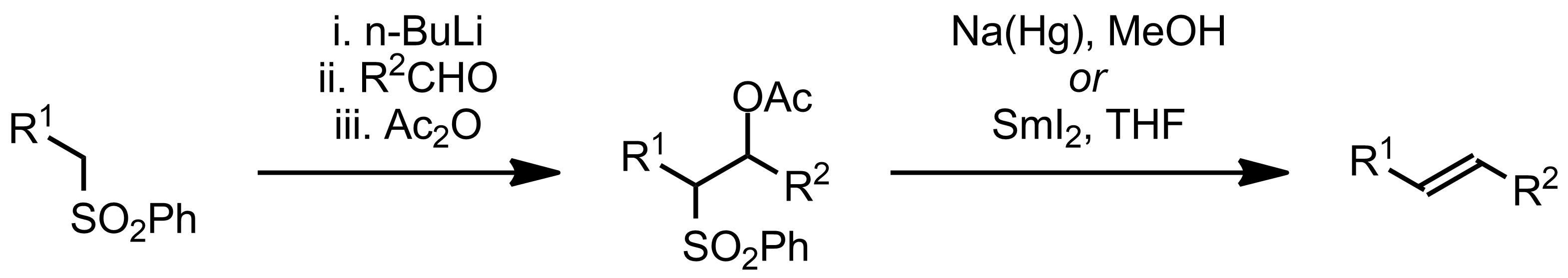 Schematic representation of the Julia Olefination.
