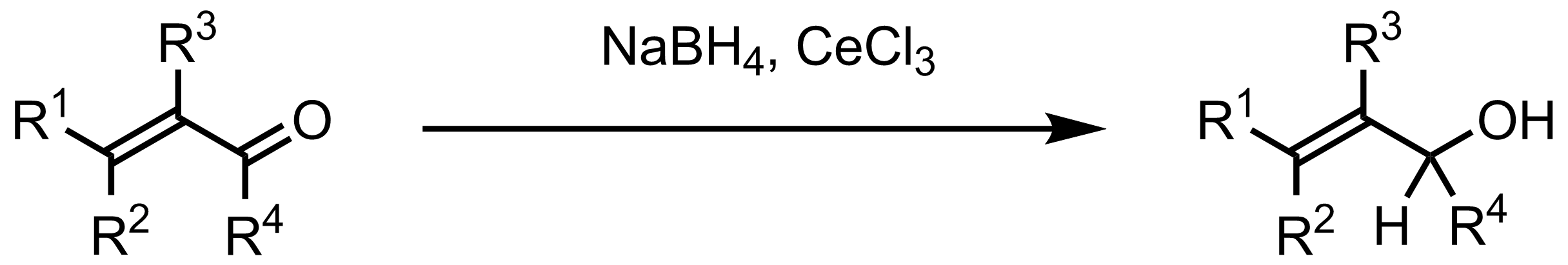 Schematic representation of the Luche Reduction.