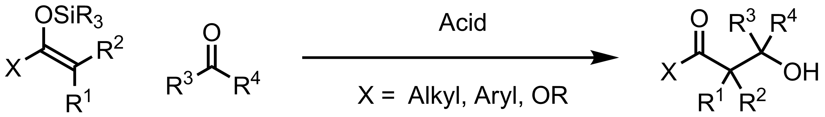 Schematic representation of the Mukaiyama Aldol Addition.