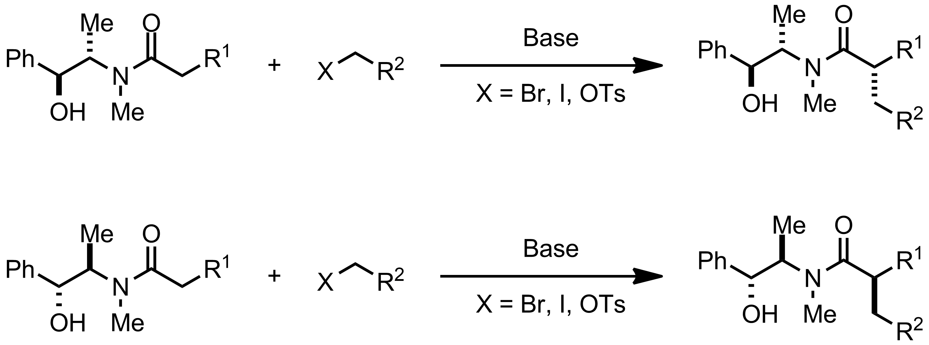 Schematic representation of the Myers Asymmetric Alkylation.
