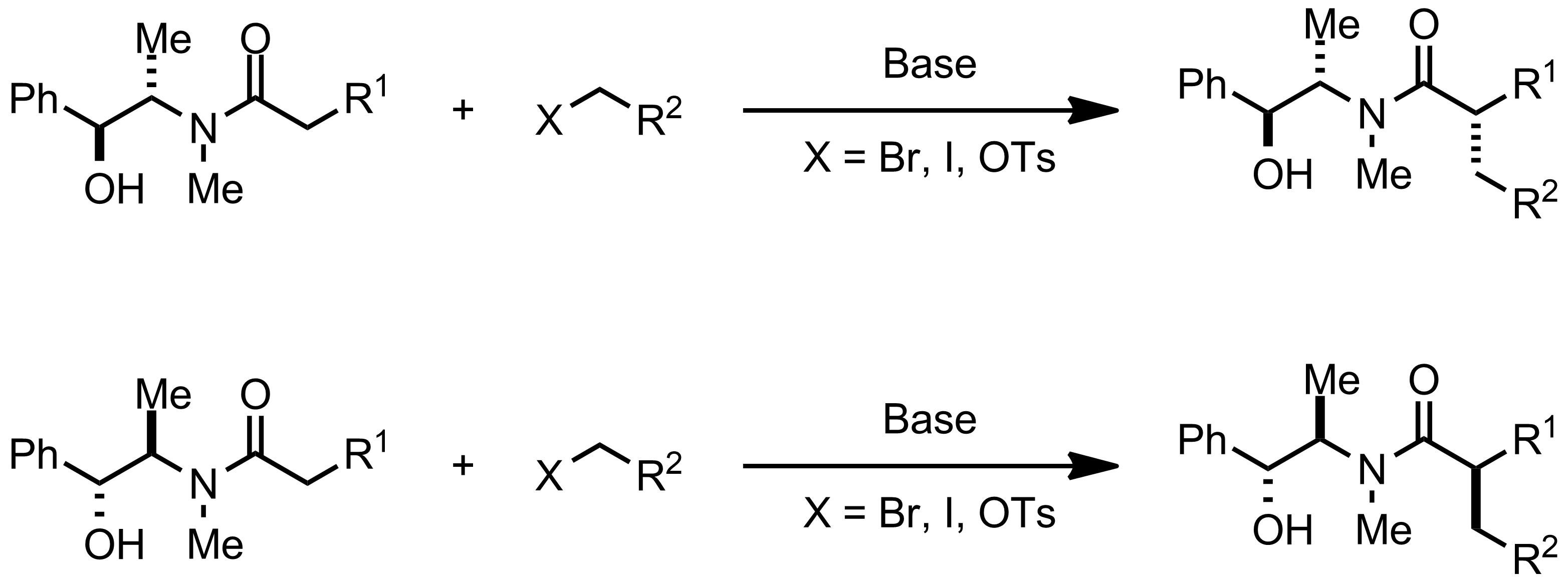 Schematic representation of the Myers Asymmetric Alkylation.