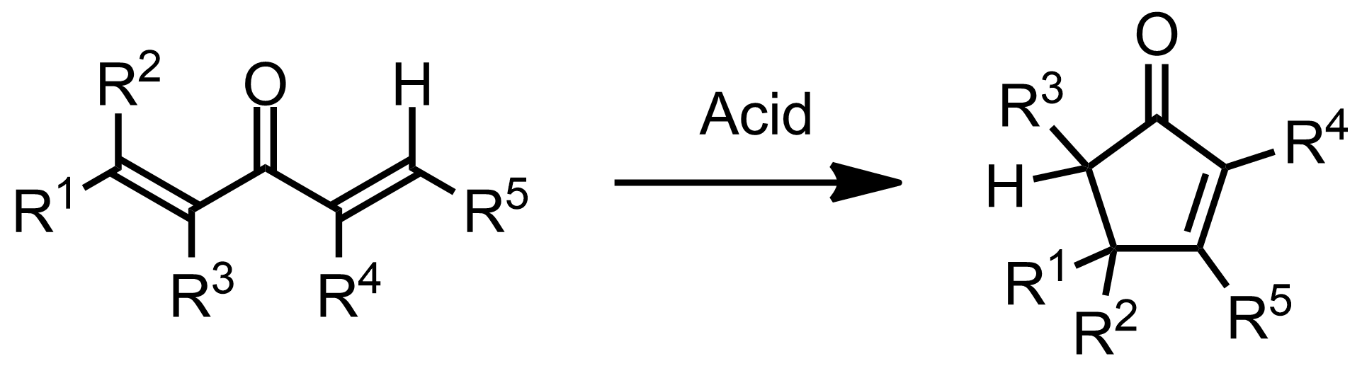 Schematic representation of the Nazarov Cyclization Reaction.