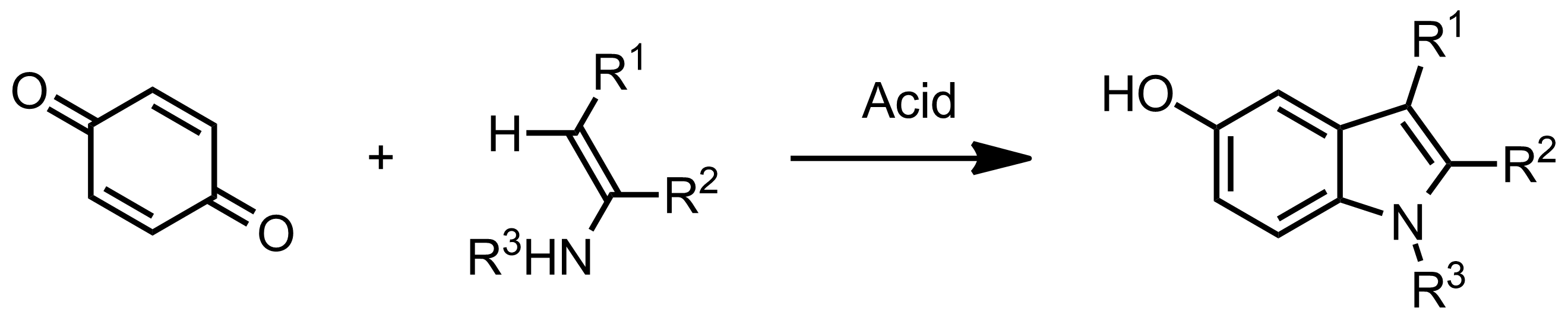 Schematic representation of the Nenitzescu Indole Synthesis.