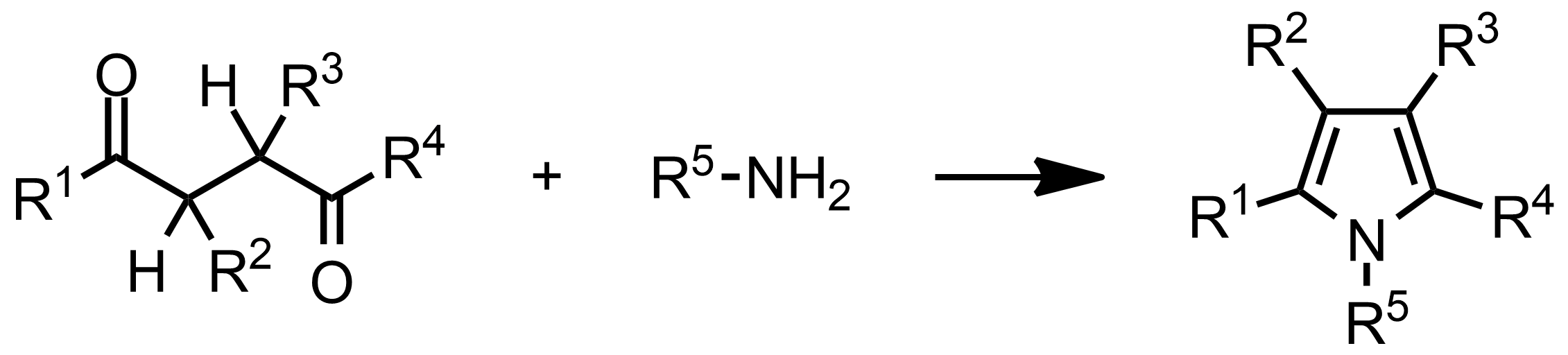 Schematic representation of the Paal-Knorr Pyrrole Synthesis.
