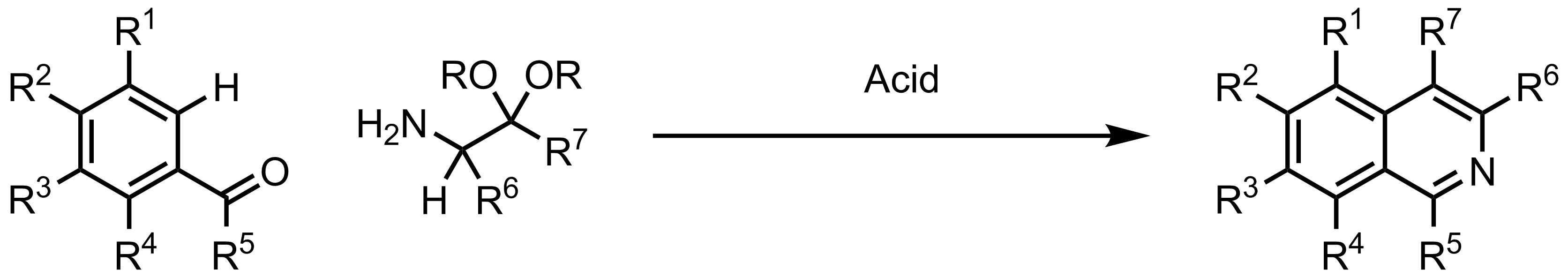 Schematic representation of the Pomeranz-Fritsch Isoquinoline Synthesis.