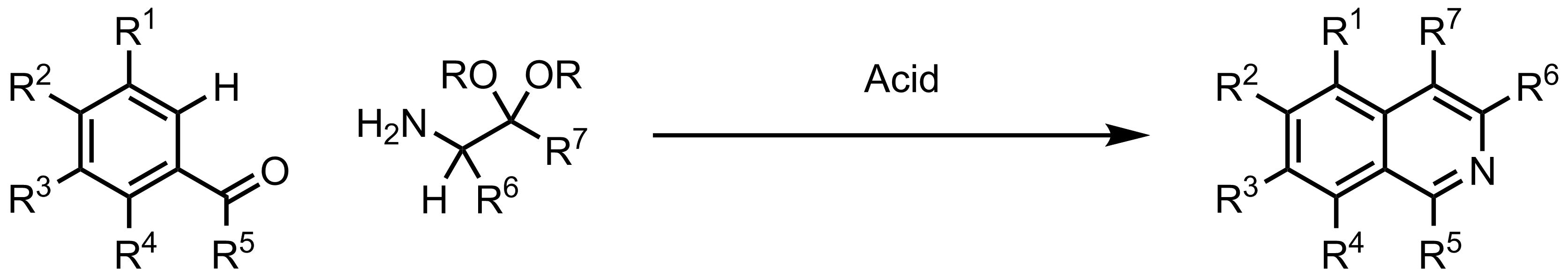 Schematic representation of the Pomeranz-Fritsch Isoquinoline Synthesis.