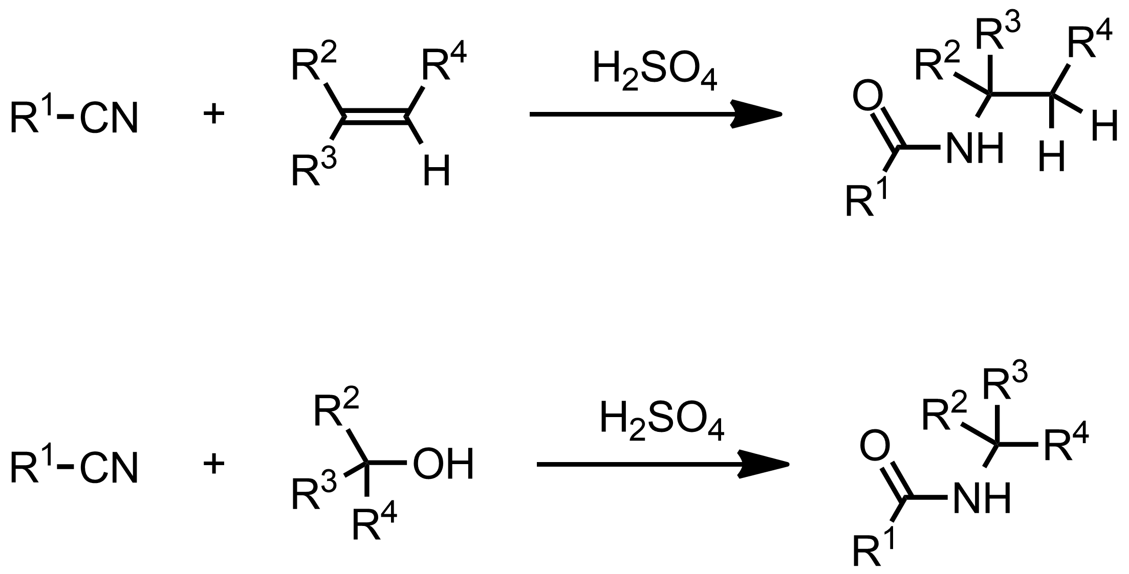 Schematic representation of the Ritter Reaction.