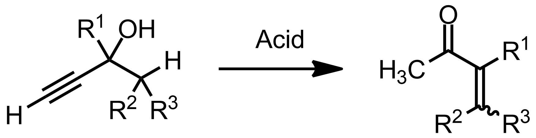 Schematic representation of the Rupe Rearrangement.