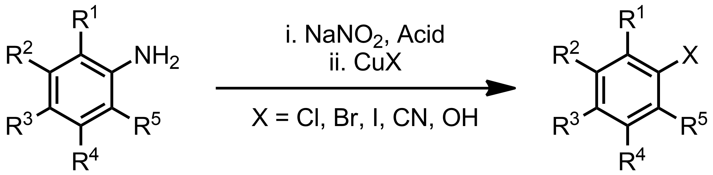 Schematic representation of the Sandmeyer Reaction.