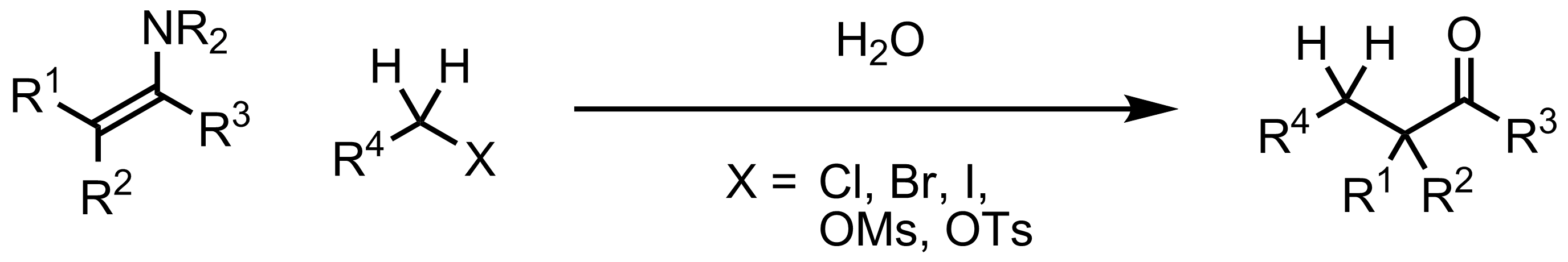 Schematic representation of the Stork Enamine Synthesis.