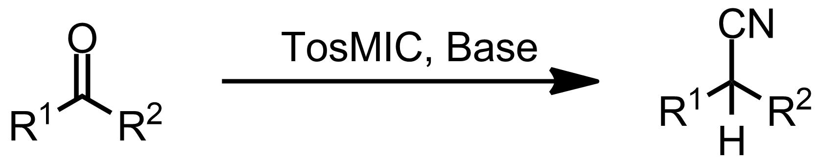 Schematic representation of the Van Leusen Reaction.
