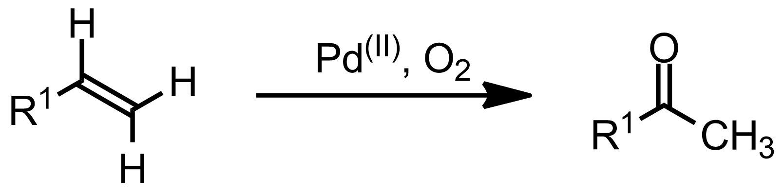 Schematic representation of the Wacker Oxidation.
